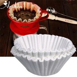 Arshen 50 sztuk/zestaw biały filtry do kawy pojedyncze do serwowania papieru do ekspresu do kawy 24 CM biały filtr papieru ciasto puchar papieru do kawy miska|Filtry do kawy|   -