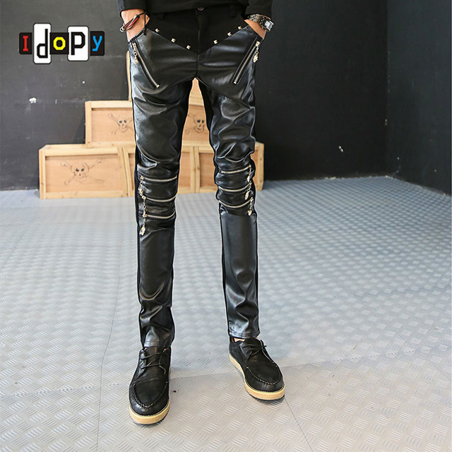 Punk Style Mens Studded Skinny Faux Leather Pants Motorcycle Rock Black Hip Hop PU Trousers For Men With Gold Zippers On Knee
