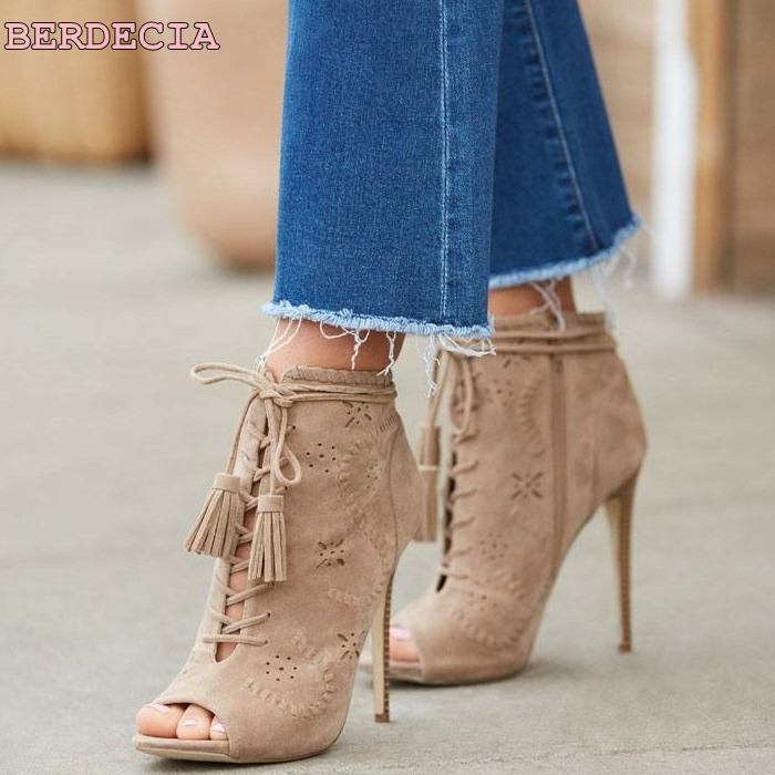 great peep toe woman sandal boots hollow out high heel shoes lace up ankle boots army green suede stiletto heel short boots new year designer army green suede lace up high heel boots thick square heel open toe lace up strappy ankle motorcycle boots