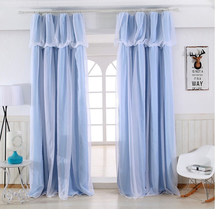 SunnyRain 1-Piece Blue Luxury Double-layer Blackout Curtain For Bedroom Curtain For Children Room Living Room Drape Customizable