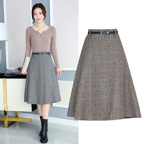 TingYiLi Autumn Winter Midi Skirt High Waist Retro A Line Plaid Skirts  Womens Khaki Gray Black Skirt Knee Length-in Skirts from Women s Clothing  on ... 92316534aa