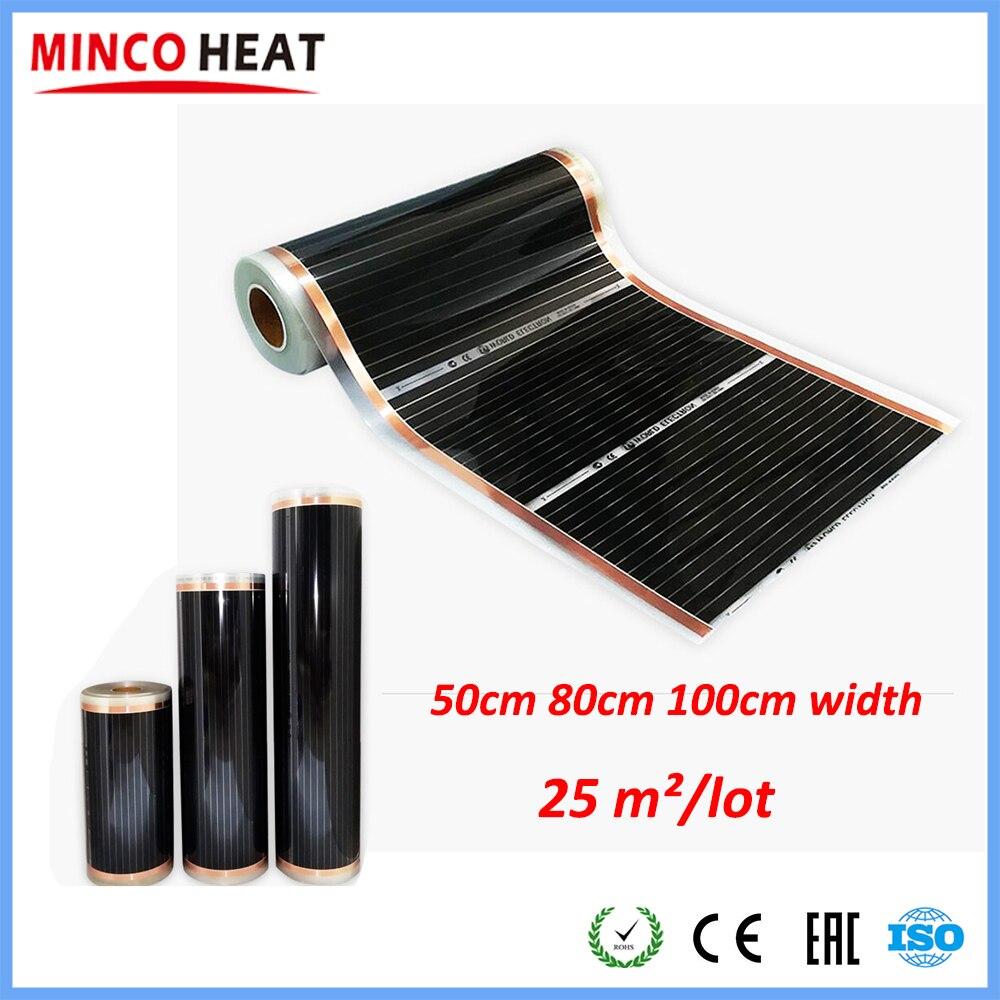 25m2 Warm Foot Floor Heating System Thermostat Controlling Carbon Warm Floor Film Heater 50cm 80cm 100cm