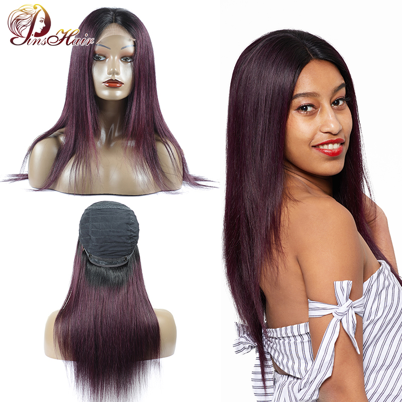 Pinshair Ombre Purple Lace Front Human Hair Wigs for Black Women Peruvian Straight Closure Wig 32 Inches Nonremy Lace Front Wigs