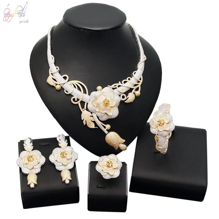 YULAILI Luxury Cubic Zirconia 4pcs Jewelry Set for Wedding Bridal Necklace Jewellery Accessories with Earrings Ring Bracelet 4pcs bridal fashion flower cubic zirconia inlaid wedding necklace dangle earrings bracelet ring jewelry set boucle d oreille