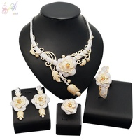 YULAILI Luxury Cubic Zirconia 4pcs Jewelry Set for Wedding Bridal Necklace Jewellery Accessories with Earrings Ring Bracelet