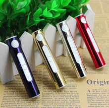 women men cigarette lighter car USB cigarette lighter portable windproof electronic lighter mini charger gold red silver purple