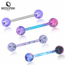 BODY PUNK 4 pcs/set Fashion Jewelry Candy Planet Color Labret Bar Lip Ring Tongue Piercing Body For Sexy Women