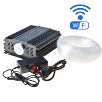 Maykit WIFI smart phone control Fiber optic star ceiling light kit with 75W RGB LED light source 835 strans optical fibre tails