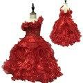Envío Libre 3-10 Años de la Muchacha de Un Hombro Vestido de Fiesta 2016 nuevos Niños Vestidos de Noche de Encaje Apliques de Organza Vestido de Niña de Rojo de la colmena