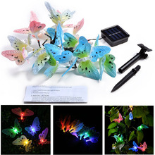 Butterfly Solar String Lights Waterproof 12 Led Fairy Multi-Color Wedding Decoration Garden Patio Christmas Party Gifts