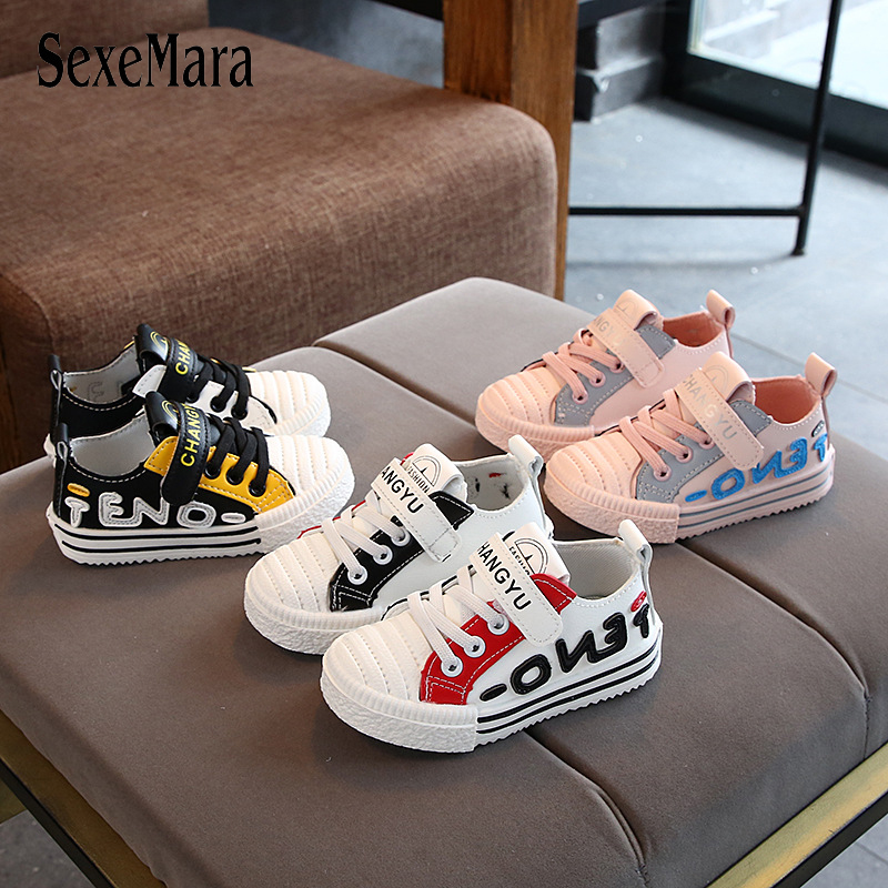 2019 New All-match Student Shoes Casual Children Footwear Flat Baby Boys Shoes Girls Sports Shoes Leather Toddler Sneaker C07042
