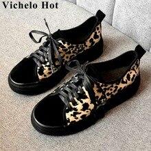 Vichelo/Популярные леопардовые замшевые кроссовки на шнуровке; кроссовки на плоской платформе с круглым носком в британском стиле; Вулканизированная обувь; большие размеры; L1f7