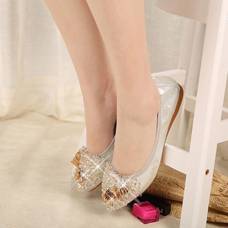 Bout on Lady Été Noir Partie Femmes Chaussures Strass Femme or Appartements argent Cristal Pointu Casual Falts 200 Plat Slip Élégant qtCFngww