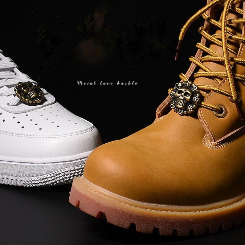 Vintage Metall Schädel Charme Schuhe Dekorationen Schnürsenkel Schnalle Geschenk Box Ein Paar Kostenloser Versand Warm Und Winddicht