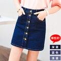 Falda de mezclilla pantalones cortos de cintura alta de verano de las mujeres mini falda vintage Sexy hebilla de vaquero falda de las señoras botón de primera fila azul S XL