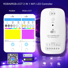 цена на DC9~24V 2 IN 1 RGBW/RGB+CCT WiFi LED Controller 5050 RGBWW IOS/Android APP Controller RGBW Light Strip Controller 5CH15A