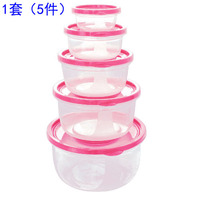 5Pcs Plastic Food Storage Containers Fresh Refrigerator Seal Box Round Green