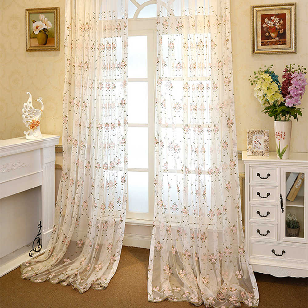Luxury Embroidered Pink Floral Sheer Curtain Panels for Sliding Glass Door Window Treatment Curtain Tulle for Living Room WP3664