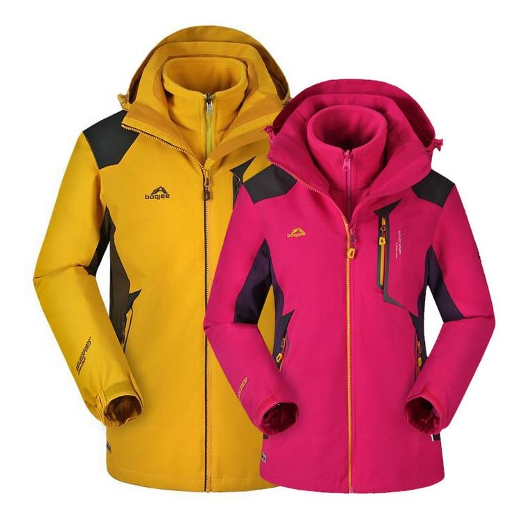 Waterproof Lovers Families Outdoor Jacket North Ski-Wear Two-Piece Breathable Hiking Jacket For Men And Women 3 In 1 Jacket