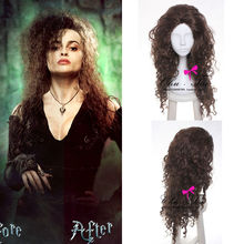 High Quality Long Brown Wavy Bellatrix Lestrange Wig Harry Potter Synthetic Hair Anime Cosplay Wig Cos Wigs With Free Cap