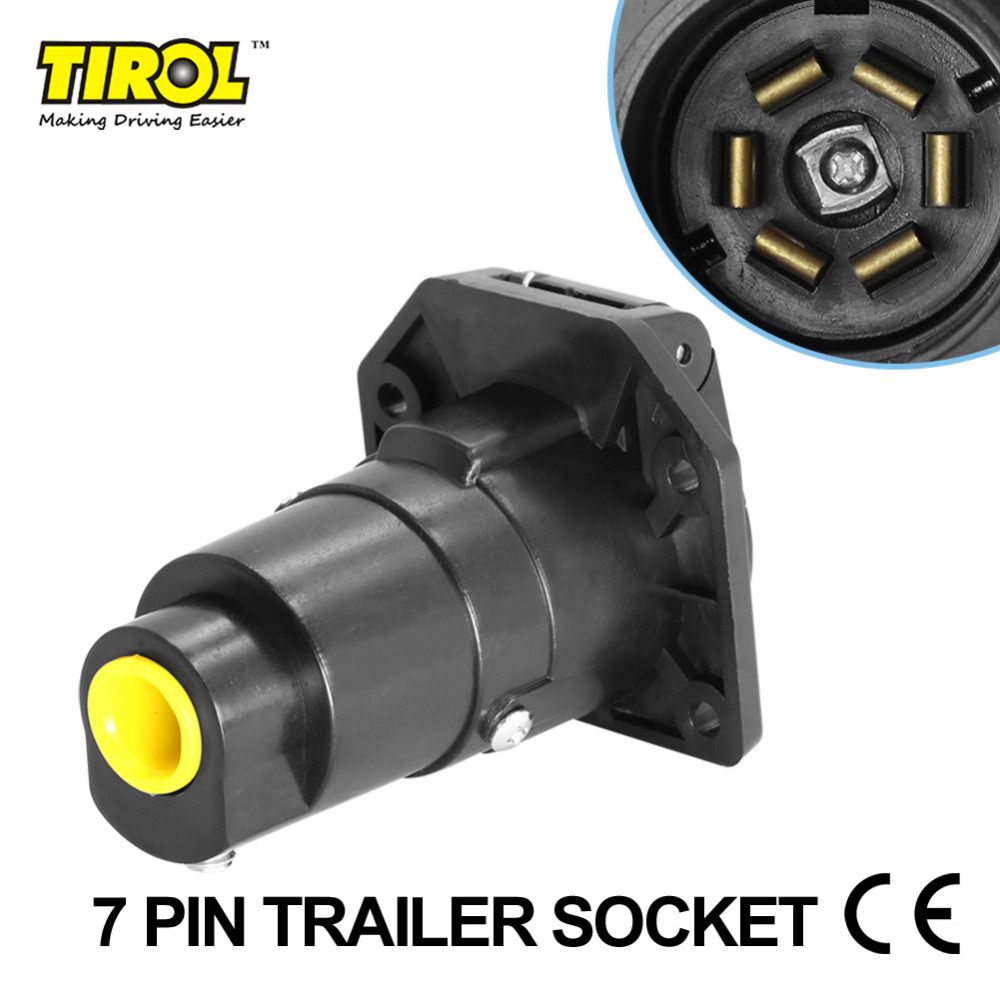 Tirol 7Pin TrailerSocket 7 Way Round Trailer Connector RV Light Plug Connector Female Tow bar Vehicle End T21848c Free Shipping