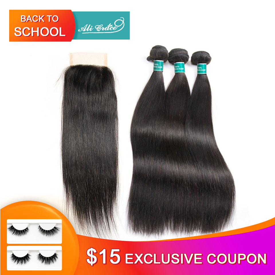 Ali Grace Hair Brazilian Straight Hair Bundles With Closure 4*4 Middle Free Part 2 Option 100% Remy Human Hair With Closure(China)