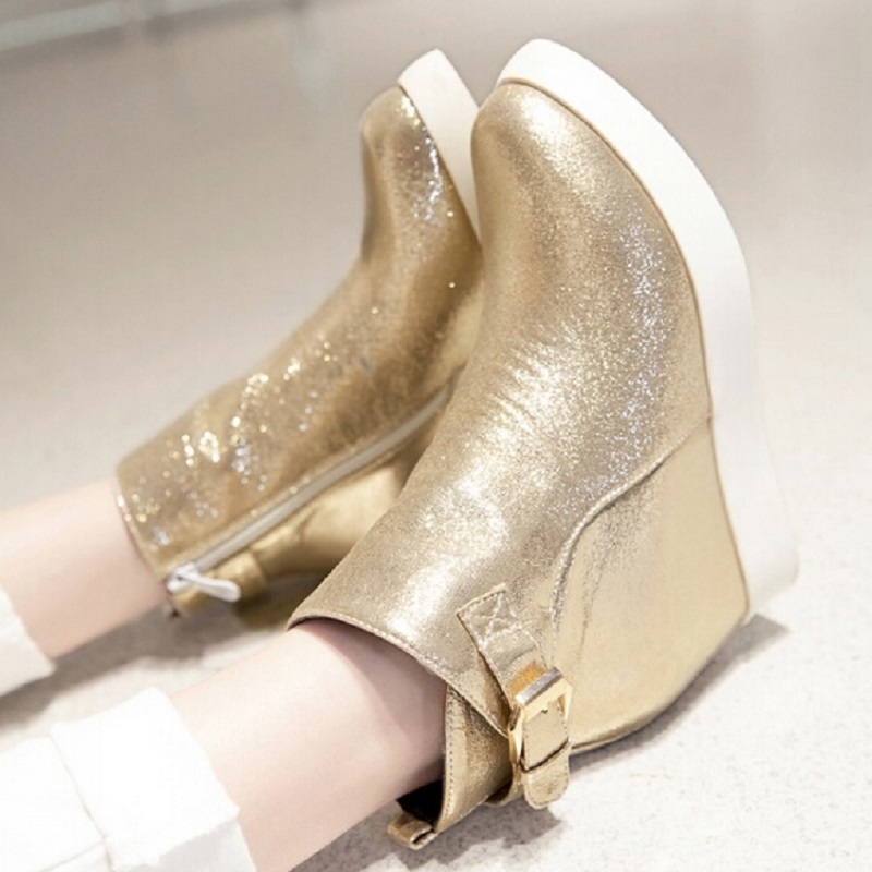 ФОТО Gold Silver Black 2015 Fashion Sequined Cloth Side Zipper Ankle Boots For Women Pointed Toe Elevator Shoes Platform Wedge Boots