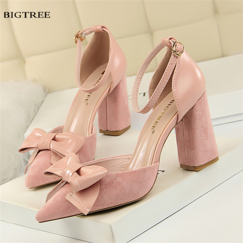 New Autumn Sweet High Heeled Shoes Thick Heeled Pumps Fashion Shallow Pointed Buckle Hollow Flock Bow Women Shoes G828-23 bigtree spring summer women pumps sweet bow knot high heeled shoes thin pink high heel shoes hollow pointed stiletto elegant 22