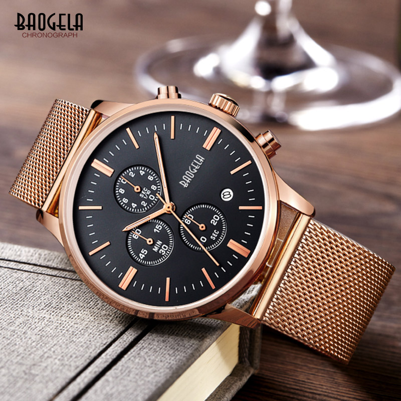 Classical Chronograph Luminous Hand Calendar Date Indicator Stainless Steel Mesh Strap Quartz Wristwatches for Men BGL1611G-44