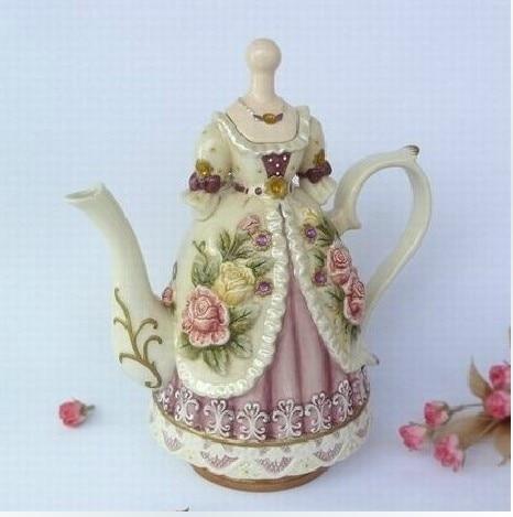 2018 nouvelle noblesse beauté robe cafetière en céramique théière Drinkware Royal fête de mariage outils thé Pot ensemble vaisselle cadeaux