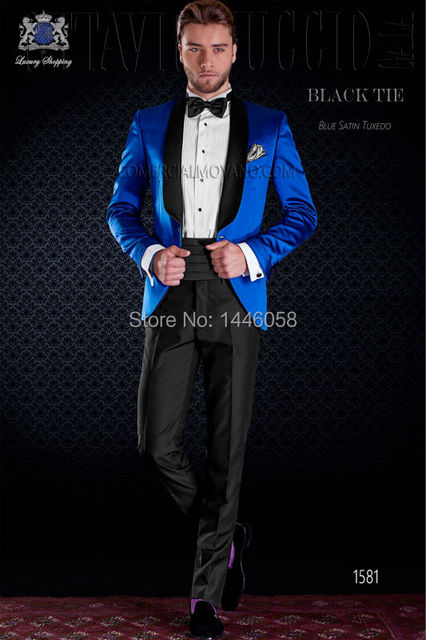 2016 Hot Design Black Lapel Slim Fit Royal Blue Tuxedo Groom Suits One On Mens Prom Party Tuxedos Wedding For Men