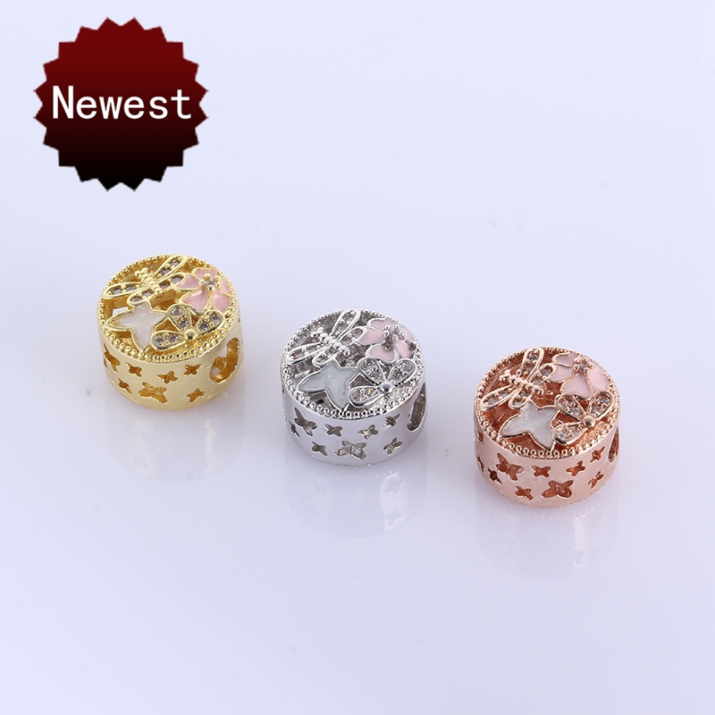sieraden maken Hollow out Daisy Butterfly Dragonfly Enamel Charms Fits European Beads PANDOR Bracelets DIY Jewelry Accessory