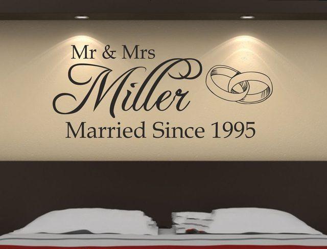 Custom made personalized mrmrs wedding romantic wall sticker decal removable bedroom art vinyl decor decoration