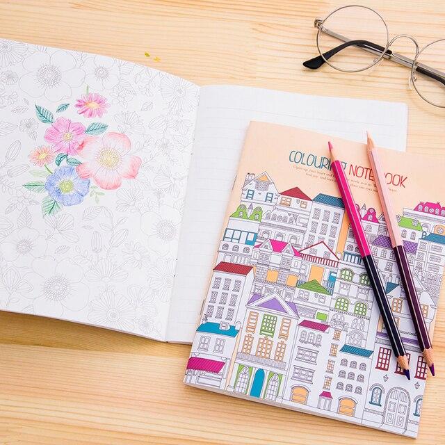 4 unids Pintado A Mano Libros Para Colorear Para Los Niños Adultos ...