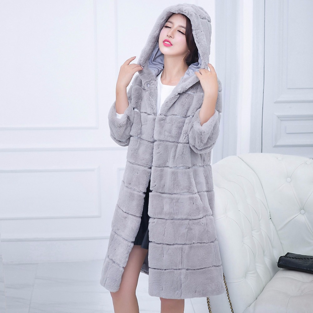 Пальто свободного кроя с капюшоном из натурального меха кролика Рекс, верхняя одежда для женщин, волнистые длинные стильные толстые теплые