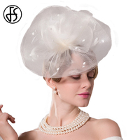 FS Fancy White Pillbox Hat Ladies Formal Bowknot Feather Summer Wedding Dress Hats For Women Cocktail