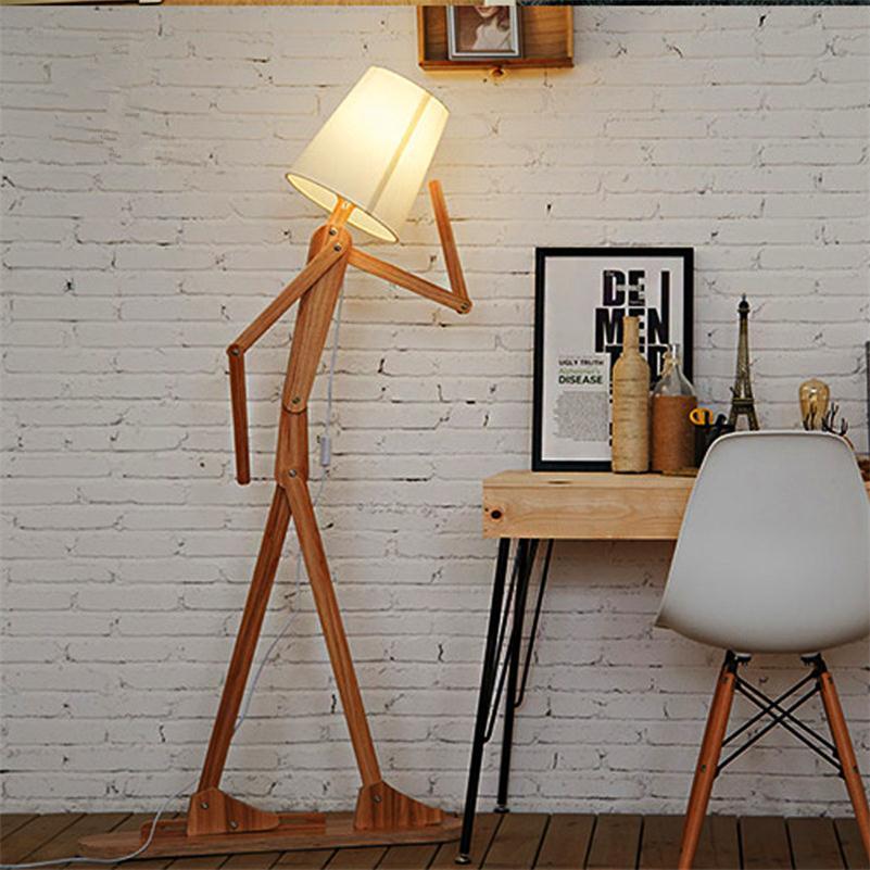 Nordic Creativo Lampade Da Terra In Legno E27 Log Tessuto Del ...