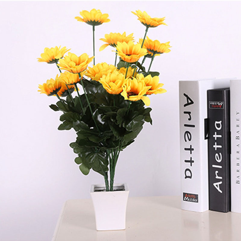 1 Bouquet Fake Plastic Artificial Livingroom Decoration Flowers Sunflowers Bouquet Daisy Flower