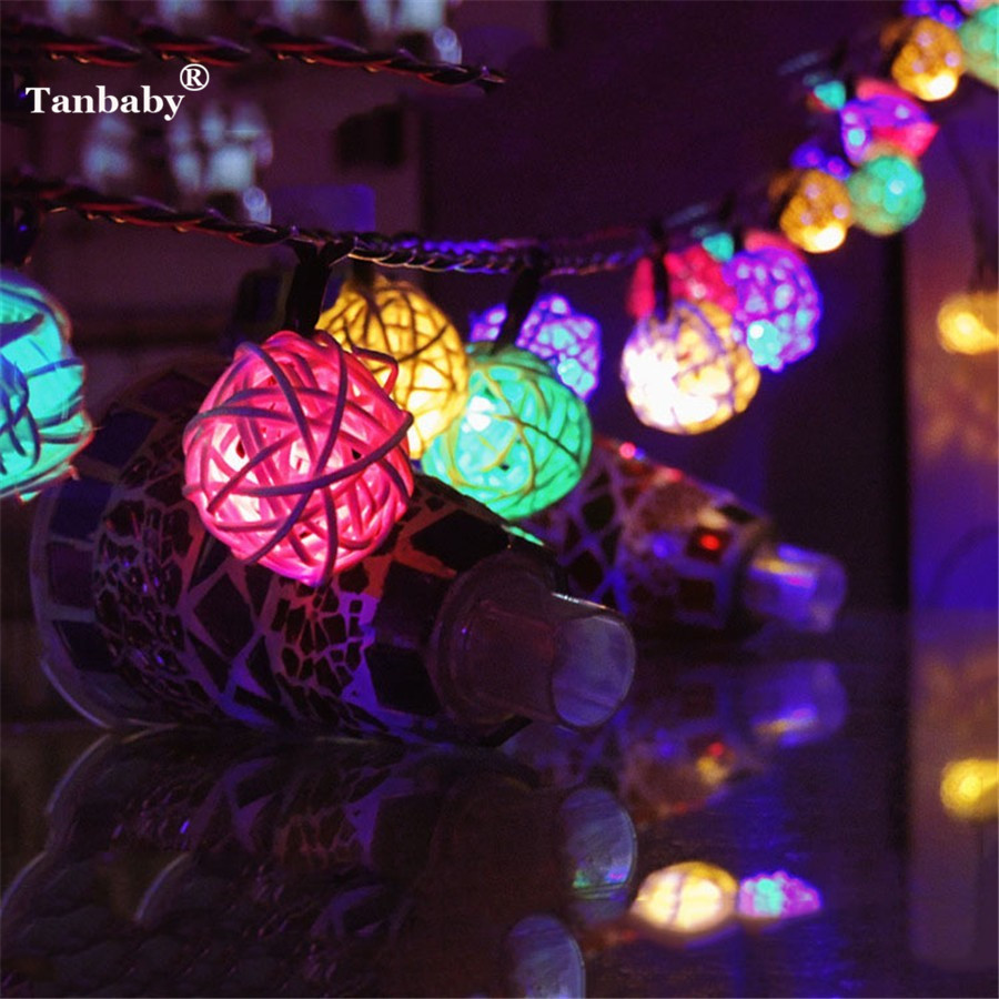 Tanbaby 4.8M 20 LEDs RGB Solar Garland LED Rattan Ball Fairy Lights Lampion String For Christmas Wedding Luces Decoration PartyTanbaby 4.8M 20 LEDs RGB Solar Garland LED Rattan Ball Fairy Lights Lampion String For Christmas Wedding Luces Decoration Party