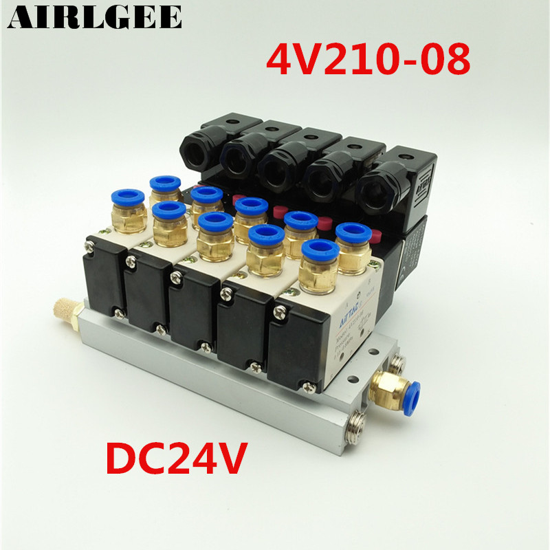 4V210-08 DC 24V 2 Positions 5 Way Quadruple Solenoid Valve Aluminum Base Fitting Mufflers Set 5 Stations Free shipping pc400 5 pc400lc 5 pc300lc 5 pc300 5 excavator hydraulic pump solenoid valve 708 23 18272 for komatsu