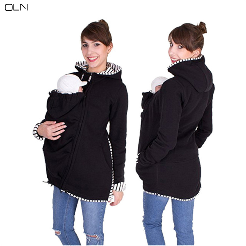 Multi-Purposeful Mom Kangaroo Hoodie Maternity Autumn And Winter Pregency Ladies's Clothes Childcare Bag Hoodie