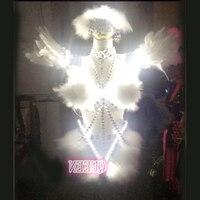 Кристаллы перо стразами крылья Led Костюм Производительность Led костюм для Танцы
