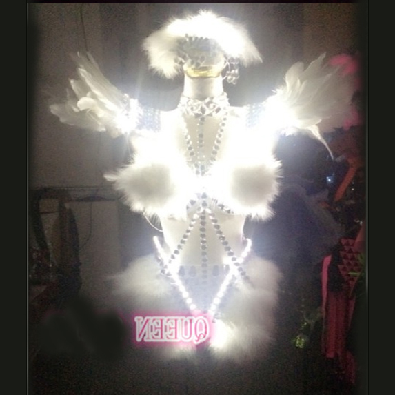Перья кристаллы Стразы крылья <font><b>LED</b></font> Костюм Производительность <font><b>LED</b></font> костюм для Танцы