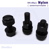 M4 6mm 25mm 7 Kinds 28pcs Nylon Slotted Bolt Plastic Thumb Screw Insulation Screw With Nut