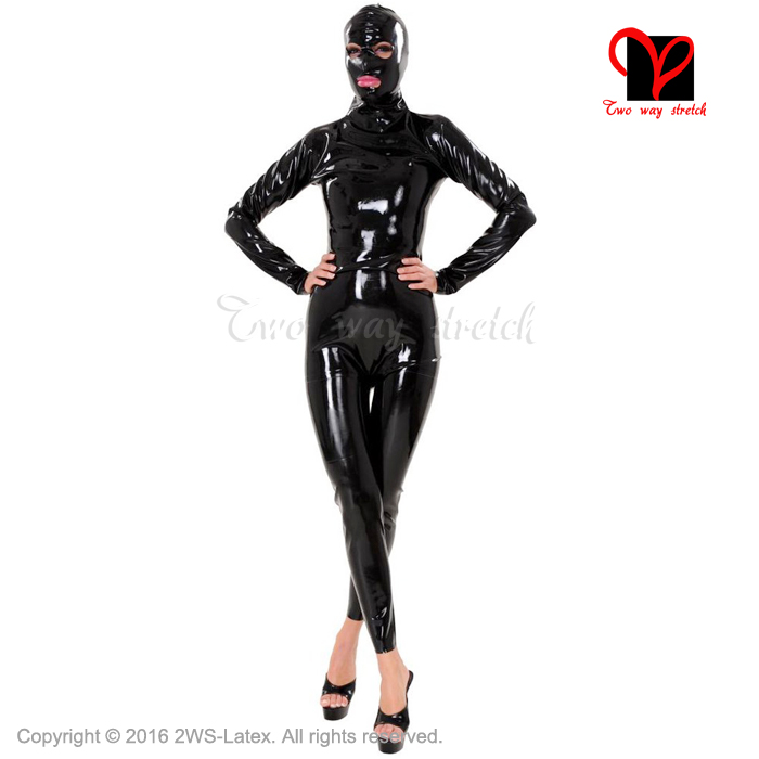 Sexy Latex Cat Suit hood open <font><b>mouth</b></font> <font><b>eyes</b></font> <font><b>nose</b></font> Latex Catsuit Fetish Bondage Rubber catsuit Gummi overall zentai body suit mask