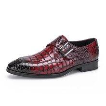 Hot Sale Men's Flats Shoes Bullock Crocodile Embossed Genuine Leather Men's Footwear Dress Wedding Shoes Brand Men Loafers