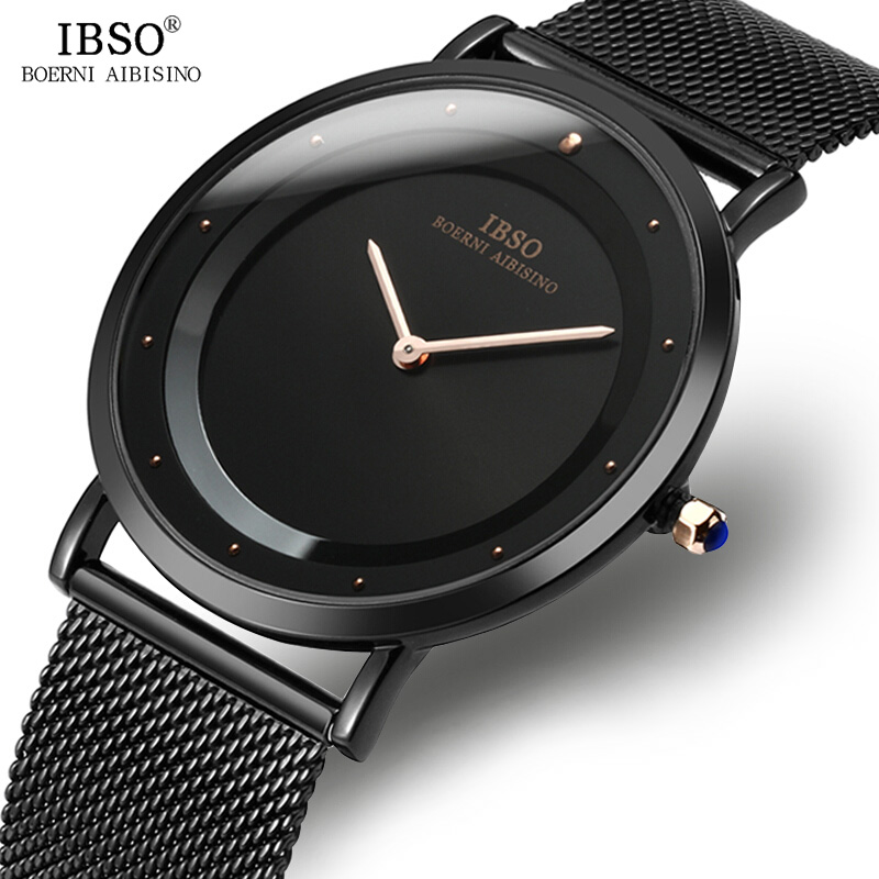 IBSO Mens Watches Top Brand Luxury 6.5MM Ultra-thin Watch Men 2018 Stainless Steel Mesh Strap Fashion Simple Quartz Wristwatches