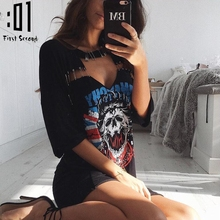 Women Skull Printed T-Shirt Dress Casual Choker V Neck Short Sleeve T Shirt Dress 2017 Summer Sexy Hollow Out Beach Club Dresses