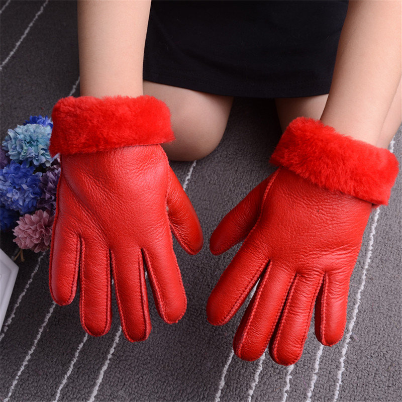 Wool Leather Gloves For 6-10years Children Winter Warm Kids Wool Fur Gloves Mittens Natural Sheepskin Gloves For Boys Girls Gift