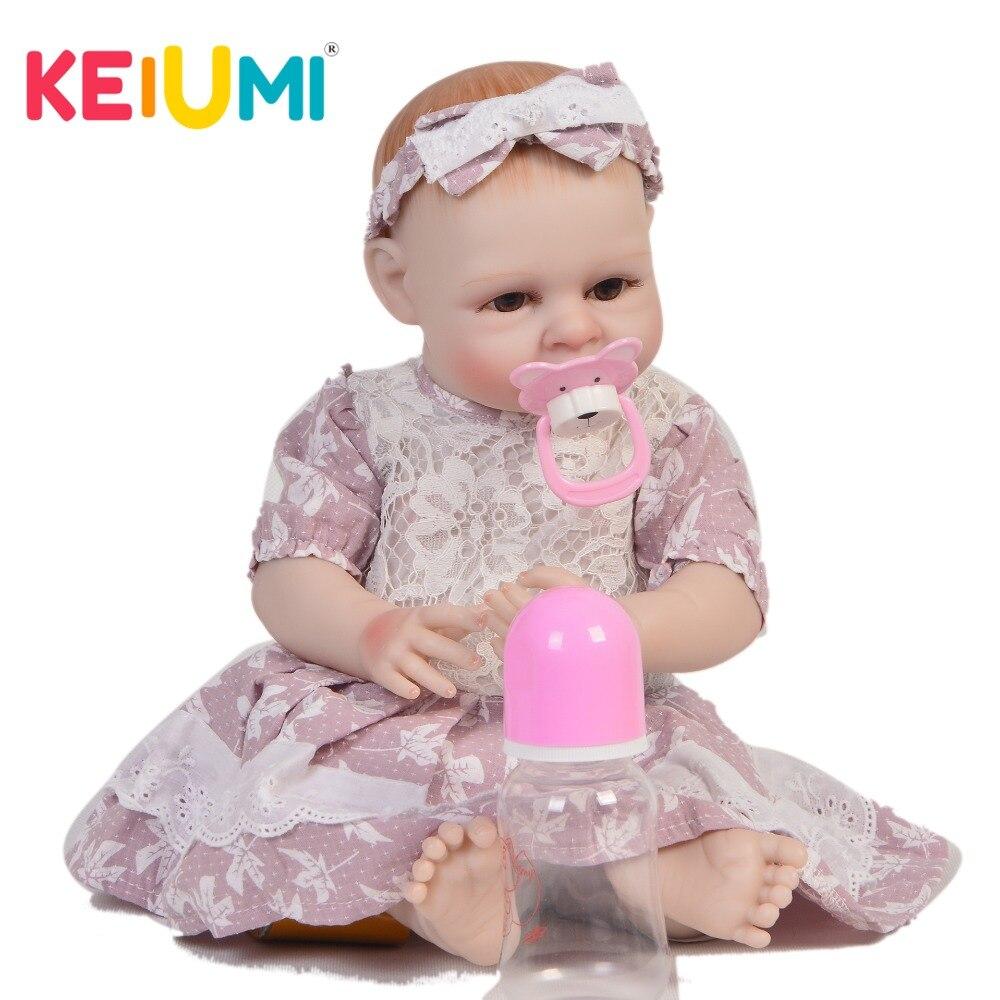 KEIUMI 45 cm Full Silicone Vinyl Reborn Baby Dolls Girls Realistic Princess 19'' Boneca Reborn bebe DIY Toys For kids Playmates цена
